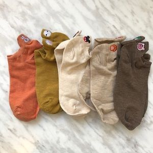 5 pairs of embroidered novelty top ankle socks NEW